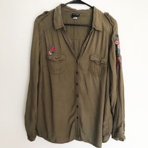 Torrid Olive Green Button Up Shirt